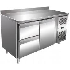 Kühltisch, 1360x600x860 mm, 1 Tür + 2 Schubladen, Aufkantung
