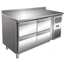 Kühltisch, 1360x600x860 mm, 4 Schubladen, Aufkantung