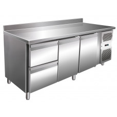 Kühltisch, 1795x600x860 mm, 2 Türen + 2 Schubladen, Aufkantung