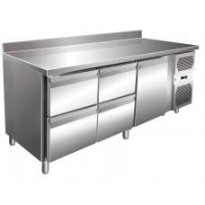 Kühltisch, 1795x600x860 mm, 1 Tür + 4 Schubladen, Aufkantung