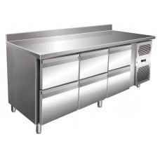 Kühltisch, 1795x600x860 mm, 6 Schubladen, Aufkantung
