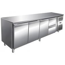Kühltisch, 2230x600x860 mm, 3 Türen + 2 Schubladen