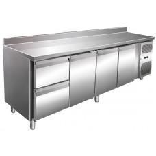 Kühltisch, 2230x600x860 mm, 3 Türen + 2 Schubladen, Aufkantung