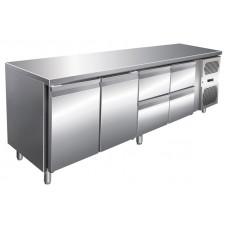 Kühltisch, 2230x600x860 mm, 2 Türen + 4 Schubladen