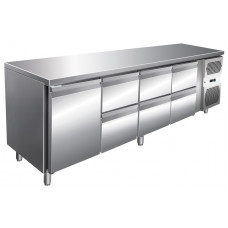 Kühltisch, 2230x600x860 mm, 1 Tür + 6 Schubladen
