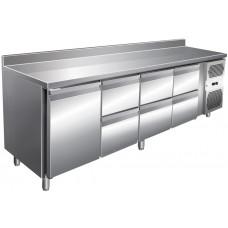 Kühltisch, 2230x600x860 mm, 1 Tür + 6 Schubladen, Aufkantung