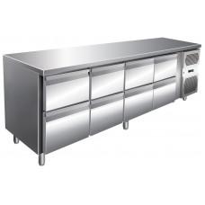 Kühltisch, 2230x600x860 mm, 8 Schubladen