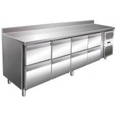 Kühltisch, 2230x600x860 mm, 8 Schubladen, Aufkantung