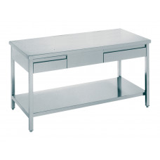 Arbeitstisch mit 2 Schubladen 1200x700x850, Edelstahl
