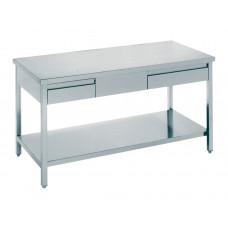 Arbeitstisch mit 2 Schubladen 1800x600x850, Edelstahl
