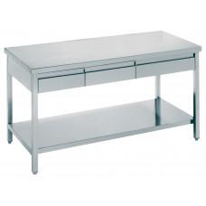 Arbeitstisch mit 3 Schubladen 1800x600x850, Edelstahl