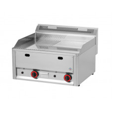 Griddleplatte Gas, 660x600x290 mm, gerillt / glatt