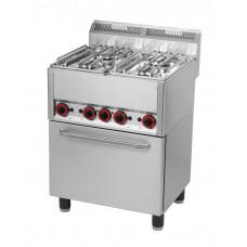 4-Flammen-Gasherd 660x600x860/920 mm, mit Heißluftofen