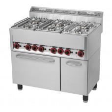 6-Flammen-Gasherd 990x600x860/920mm, mit Heißluftofen