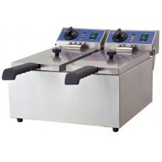 Fritteuse, Elektro, 380x440x270 mm, 2 Becken, 2x 6 Liter