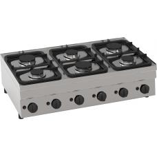 Gas-Kochfläche mit 6 Brenner Tischgerät