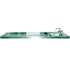 Schanktischabdeckung 1600x750mm mit Wulstrand 1 Becken rechts