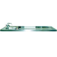 Schanktischabdeckung 1600x750mm mit Wulstrand 1 Becken links