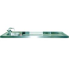 Schanktischabdeckung 3100x750mm mit Wulstrand 2 Becken links
